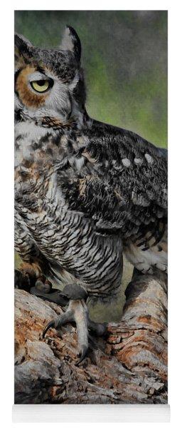 Great Horned Owl On Branch Yoga Mat
