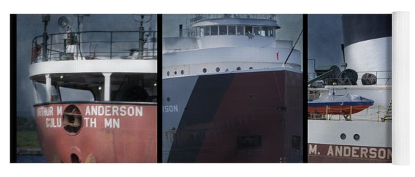 Great Lakes Freighter Triptych Arthur M Anderson Yoga Mat