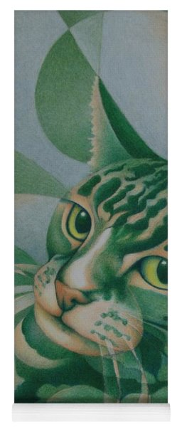 Green Feline Geometry Yoga Mat