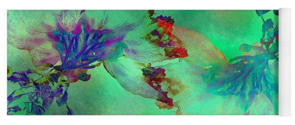Green Hibiscus Mural Wall Yoga Mat