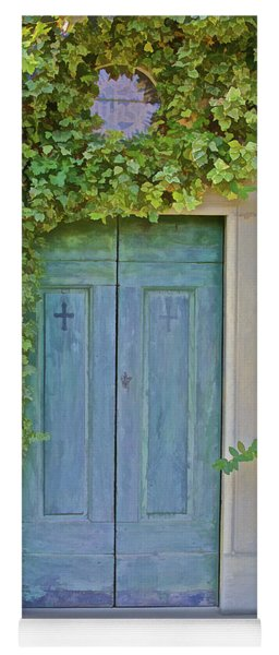 Green Wood Door Of Tuscany Yoga Mat