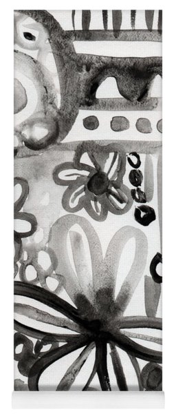 Grey Garden- Abstract Floral Painting Yoga Mat