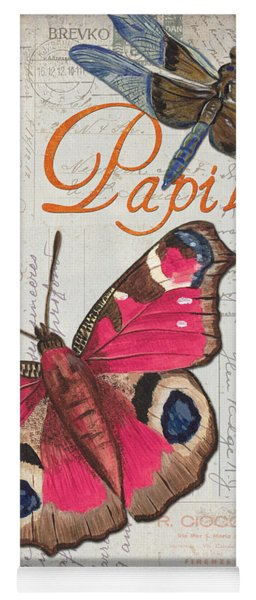 Grey Postcard Butterflies 1 Yoga Mat