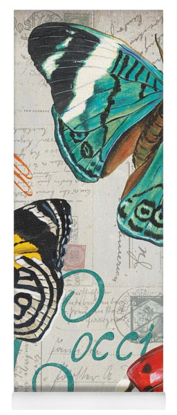Grey Postcard Butterflies 2 Yoga Mat