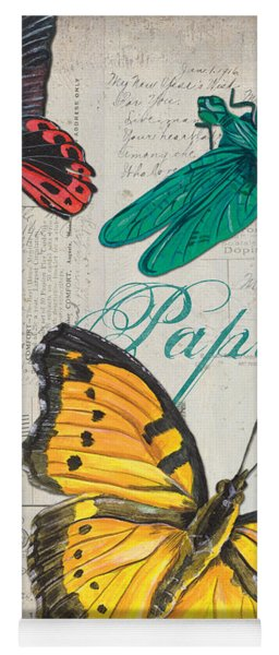 Grey Postcard Butterflies 3 Yoga Mat
