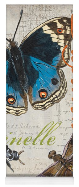 Grey Postcard Butterflies 4 Yoga Mat