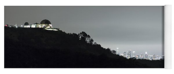 Griffith Park Observatory And Los Angeles Skyline At Night Yoga Mat