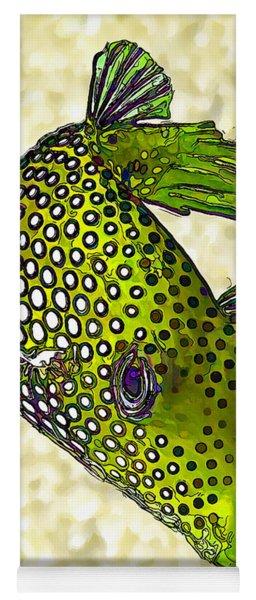 Guinea Fowl Puffer Fish In Green Yoga Mat