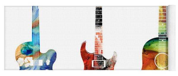 Guitar Threesome - Colorful Guitars By Sharon Cummings Yoga Mat