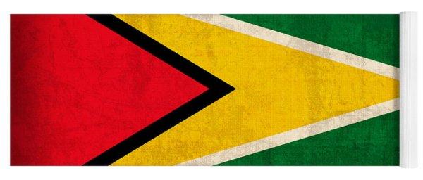 Guyana Flag Vintage Distressed Finish Yoga Mat
