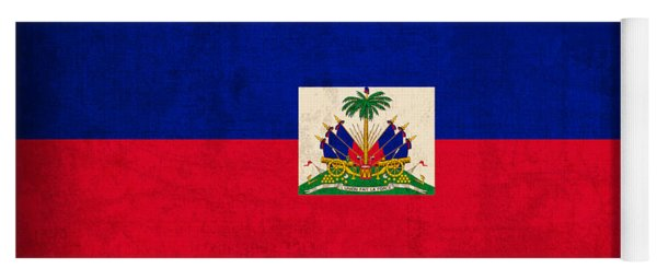 Haiti Flag Vintage Distressed Finish Yoga Mat