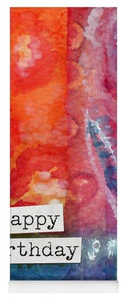 Happy Birthday- Watercolor Floral Card Yoga Mat