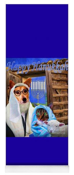 Yoga Mat featuring the digital art Happy Hanukkah  - 2 by Kathy Tarochione