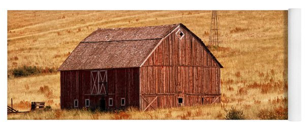 Yoga Mat featuring the photograph Harvest Barn by Mary Jo Allen