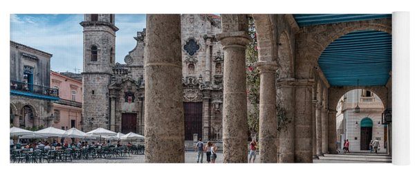 Havana Cathedral And Porches. Cuba Yoga Mat