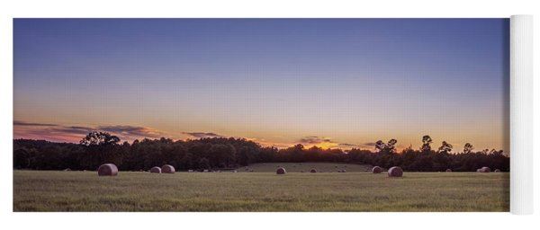 Yoga Mat featuring the photograph Hay Bales In A Field At Sunset by Todd Aaron