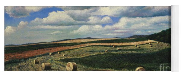 Hayrolls On Swirl Field In Latrobe By Christopher Shellhammer Yoga Mat
