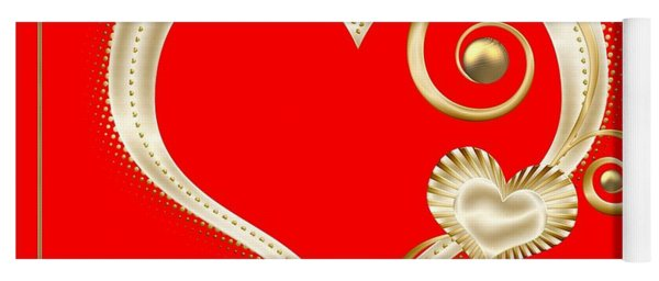 Hearts In Gold And Ivory On Red Yoga Mat