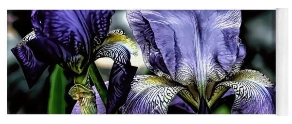 Heirloom Purple Iris Blooms Yoga Mat
