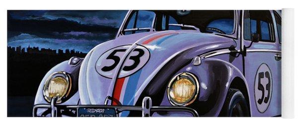 Herbie The Love Bug Painting Yoga Mat