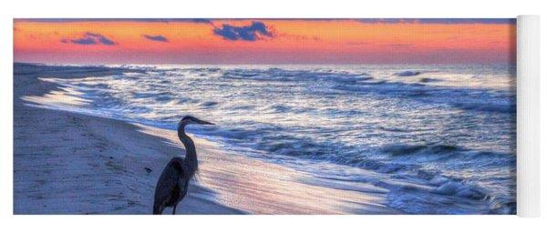 Heron On Mobile Beach Yoga Mat