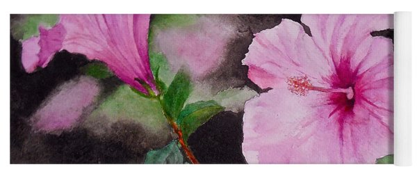 Yoga Mat featuring the painting Hibiscus - So Pretty In Pink by Sher Nasser