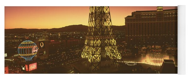 High Angle View Of A City, Las Vegas Yoga Mat