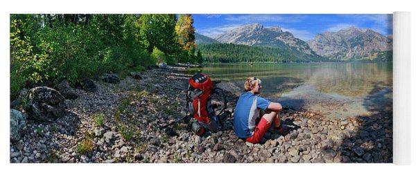 Hiker Sitting By Shady Pebbly Shore Yoga Mat