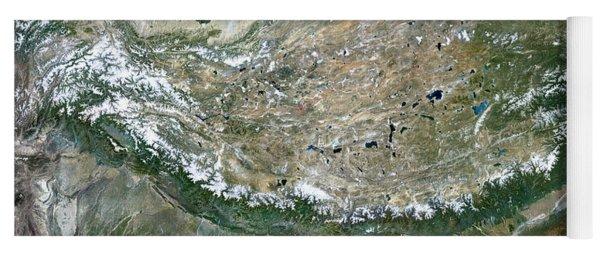Himalaya Mountains Asia True Colour Satellite Image  Yoga Mat