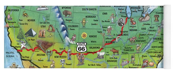 Historic Route 66 Cartoon Map Yoga Mat