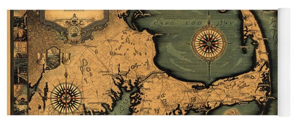 Historical Map Of Cape Cod Yoga Mat