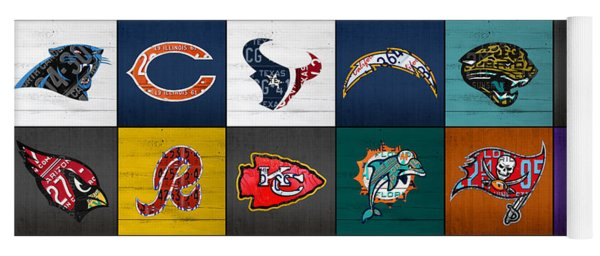 Hit The Gridiron Football League Retro Team Logos Recycled Vintage License Plate Art Yoga Mat