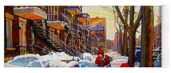 Hockey Art - Paintings Of Verdun- Montreal Street Scenes In Winter Yoga Mat