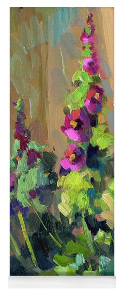 Hollyhocks At Giverny Yoga Mat