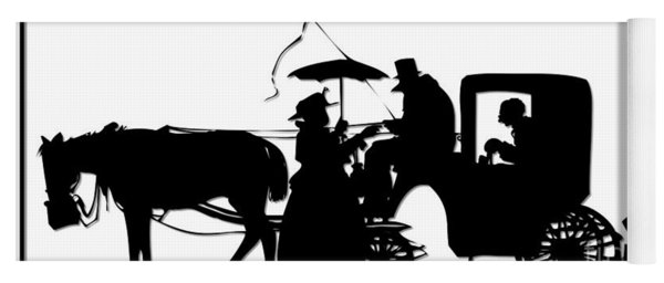 Horse And Carriage Silhouette Yoga Mat