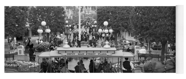 Horse And Trolley Main Street Disneyland Bw Yoga Mat