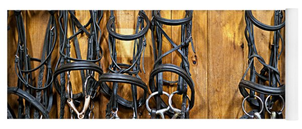 Horse Bridles Hanging In Stable Yoga Mat