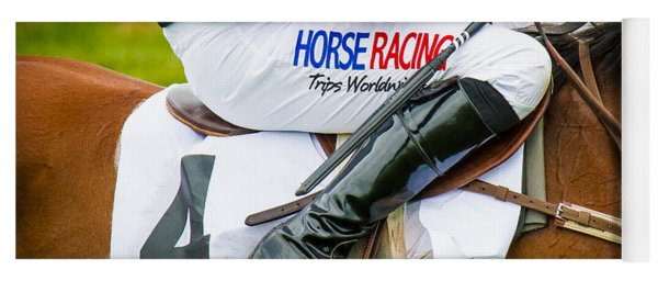 Yoga Mat featuring the photograph Horse Racing by Robert L Jackson