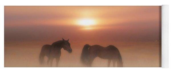Horses In A Misty Dawn Yoga Mat