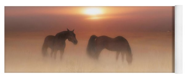 Horses In A Misty Dawn Yoga Mat