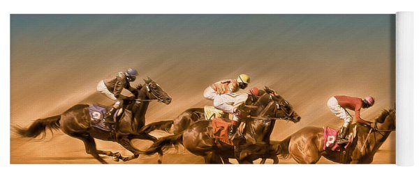 Horses Racing To The Finish Line Yoga Mat