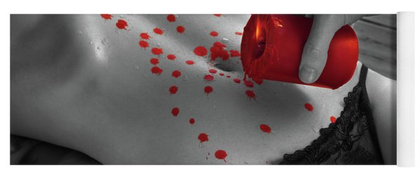 Hot Wax Foreplay With Red Candle Yoga Mat