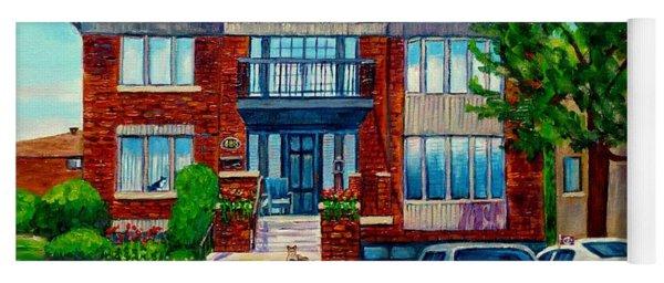 House Portrait-house  Art-commissioned  Montreal Paintings-carole Spandau Yoga Mat
