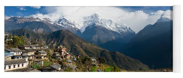 Houses In A Town On A Hill, Ghandruk Yoga Mat