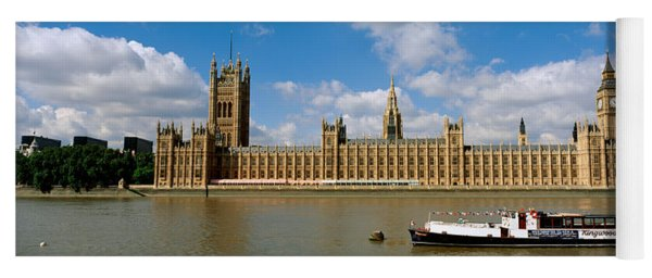 Houses Of Parliament, Water And Boat Yoga Mat