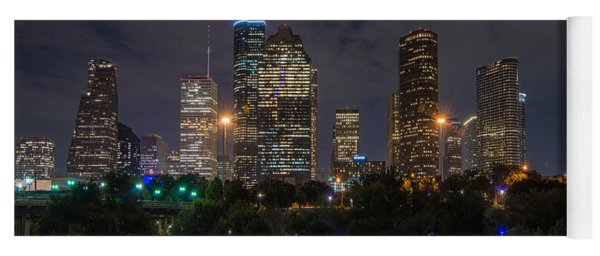 Houston Skyline At Night Yoga Mat