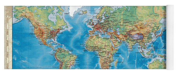 Huge Hi Res Mercator Projection Physical And Political Relief World Map Yoga Mat