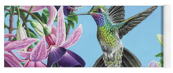 Hummingbird And Fuchsias Yoga Mat