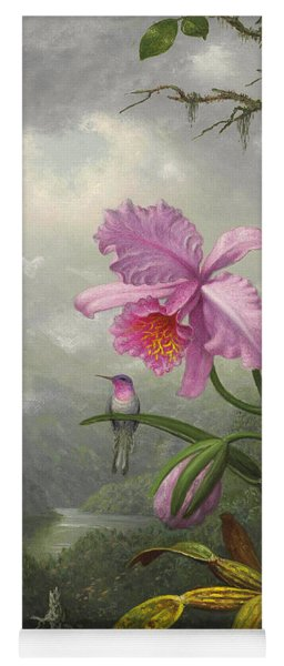 Hummingbird Perched On The Orchid Plant Yoga Mat