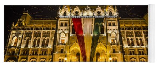 Hungarian Parliament At Night Yoga Mat